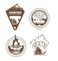 Hiking and camping retro labels emblems vector image vector image