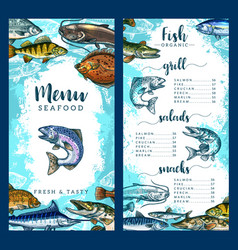 Menu for seafood or fish restaurant vector