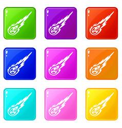 Meteorite icons 9 set vector