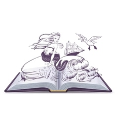 Open book Tale of Mermaid Reading develops vector image