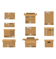 pile cardboard boxes set vector image vector image