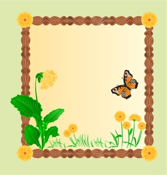 Primrose spring flower gold background frame vector