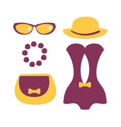 Purple swimsuit with beach accessories colorful vector