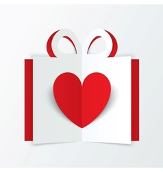 Red paper heart in gift box Valentines day card vector image