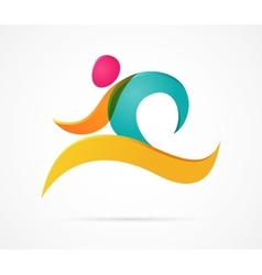 Running marathon colorful people icons and symbols vector image vector image