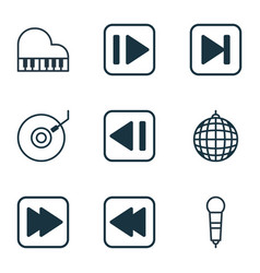 Set of 9 music icons includes gramophone rewind vector