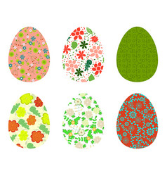 Set of colorful eggs decorated with floral vector