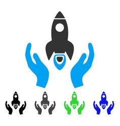 Space rocket care hands flat icon vector