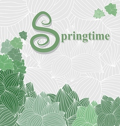 Spring card with green plants on a light gray back vector