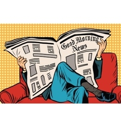 The morning paper reads man vector image vector image