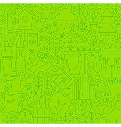 Thin Gardening Tools Line Seamless Green Pattern vector image
