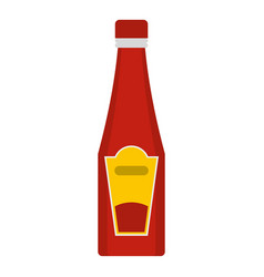 Traditional tomato ketchup bottle icon isolated vector
