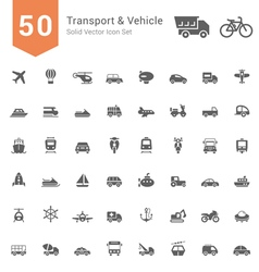 Transport and Vehicle Solid Icon Set vector image