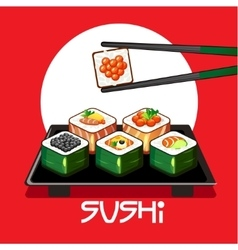 With sushi rolls and chopsticks on a plate vector image