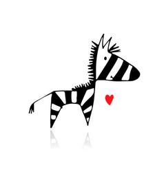 Zebra sketch for your design vector