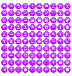 100 favorite work icons set purple vector image vector image