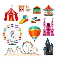 Amusement Park Colorful Objects Set vector image