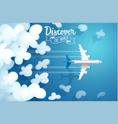 Passenger plane flying above clouds travel poster vector