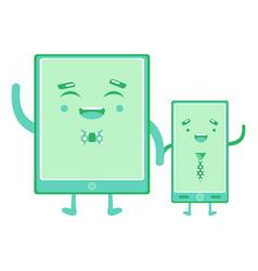 smartphones hold hands vector image