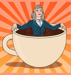 Pop art business woman relaxing in coffee cup vector