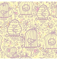 Doodle birdcages seamless pattern background vector