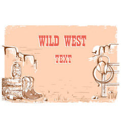 Wild west cowboy background for text vector