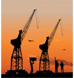 silhouette of harbour cranes vector image