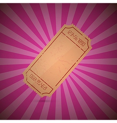 Empty ticket on retro pink background vector