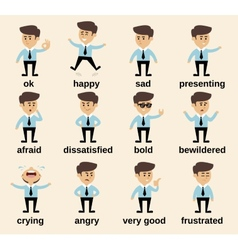 Businessman emotions set vector