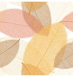 Seamless pattern from autumn leaves with thread vector image