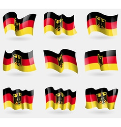 Set of germany flags in the air vector