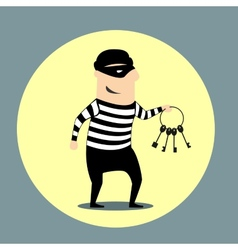 Burglar carrying a bunch of keys vector