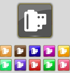 35 mm negative films icon sign set with eleven vector