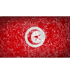 Flags tunisia with broken glass texture vector