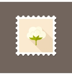 Cotton flat stamp with long shadow vector