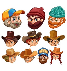 Human head wearing hats vector