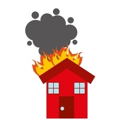 Burning house isolated icon design vector