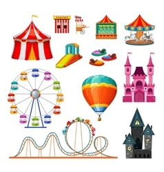 Amusement park colorful objects set vector