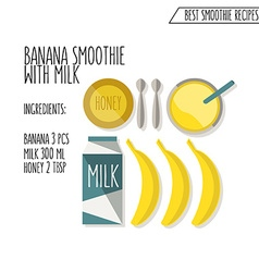 Banana smoothie with milk recipe hand dra vector