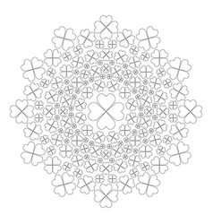 Black and white circular spring mandala cloverleaf vector