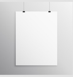 Blank flyer mockup template hanging with clip vector