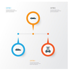 car icons set collection of hatchback vector image
