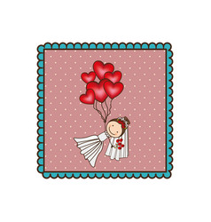 Emblem woman with wedding dress and red balloons vector