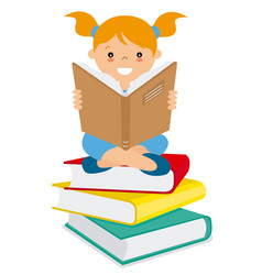 girl reading over a batch of books vector image