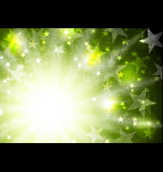 glowing bright green background with stars and vector image