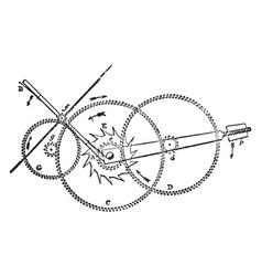 Gravity train remontoire vintage vector