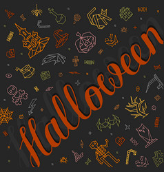 greeting card happy halloween with lettering vector image