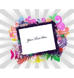 Grunge frame with rays background vector