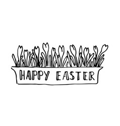 Happy easter card with spring flowers lettering vector