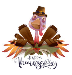 happy thanksgiving text greeting card bird turkey vector image vector image